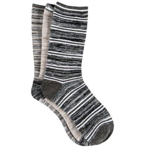 Free Country Women's Wool-Blend Flat Knit Stripe Crew Socks - Grey - 6-10