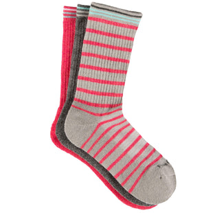 Free Country Women's Wool-Blend Stripe Basic Crew Socks - Grey - 6-10