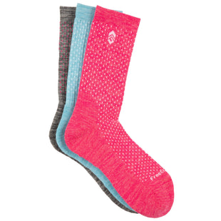 Free Country Women's Wool-Blend Pindot Crew Socks - Pink - 6-10