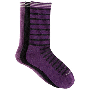 Free Country Women's Wool-Blend Stripe Basic Crew Socks - Purple - 6-10