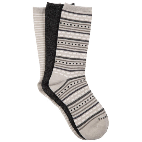 Free Country Women's Wool-Blend Striped Crew Socks - Grey - 6-10