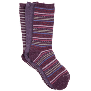 Free Country Women's Wool-Blend Striped Crew Socks - Purple - 6-10