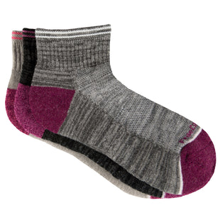 Free Country Women's Wool-Blend Varsity Stripe Quarter Socks - Pink - 6-10