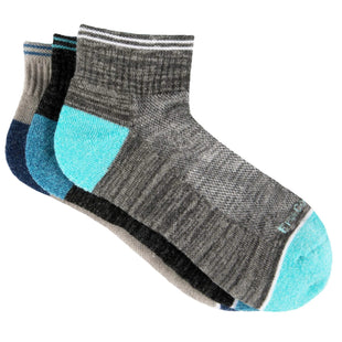 Free Country Women's Wool-Blend Varsity Stripe Quarter Socks - Grey - 6-10