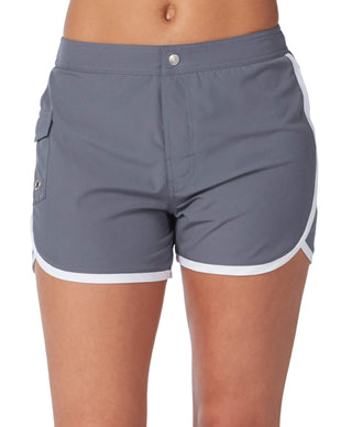 Free Country Women's Woven Stretch Cargo Short - Cloud Grey-White - S