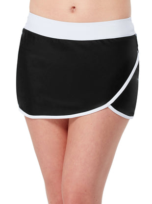 Free Country Women's Wrap Swim Skirt - Black-White - S