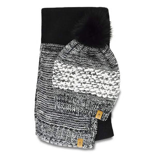 Free Country Women's Yarn & Twist Knit Beanie and Scarf - Black - O/S