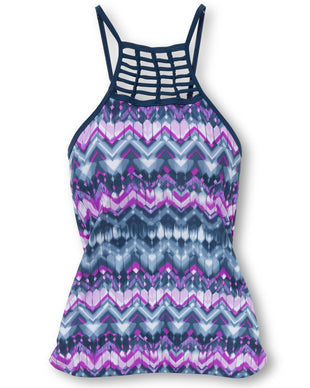 Free Country Women's Zig Zag High Neck Braided Tankini Top - Berrylicious - S