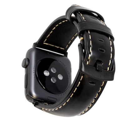 Black/Black Vintage Leather Watch Bands - Epic Watch Bands
