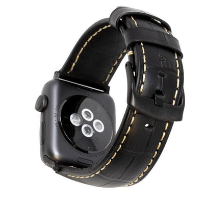 Croc Black/Black Vintage Leather Watch Bands - Epic Watch Bands