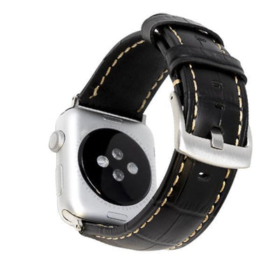 Croc Black/Silver Vintage Leather Watch Bands - Epic Watch Bands