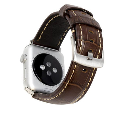 Croc Brown/Silver Vintage Leather Watch Bands - Epic Watch Bands