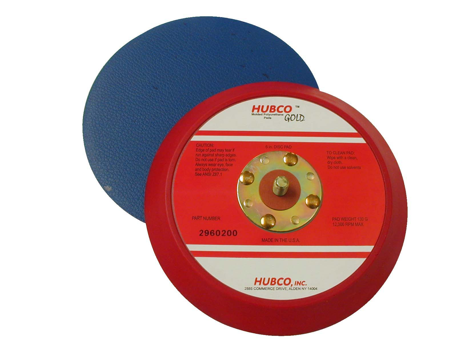 Hubco 2960200-B 6 Inch X No Hole Tapered Edge Red Backup Pad