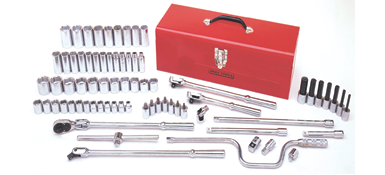 Socket Sets Gray 39074 74 Piece 1/2 Inch Drive 6 Point Metric, Chrome Socket & Attachment Set, With Hand Box