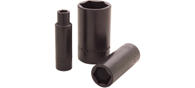 Sockets Gray PL2411 11/16 Inch X 1/2 Inch Drive 6 Point Deep Length Black Impact Socket