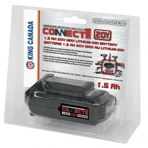 Cordless Tools & Accessories King Canada K-020LBT 20V Max Lithium-Ion Battery, 1.5 Ah Fits 20V Max Lithium-Ion Tools