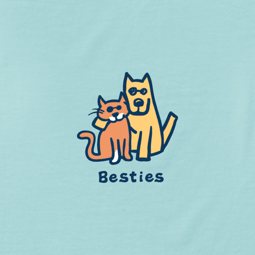 Girl's Crusher Tee Besties Bermuda Blue