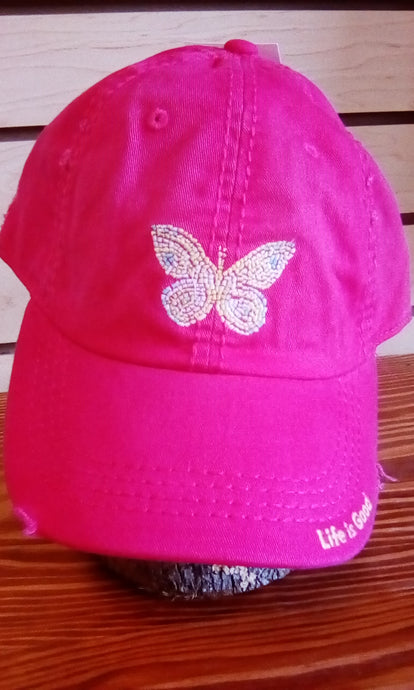 Life is Good Sunwashed Chill Cap Mosaic Butterfly