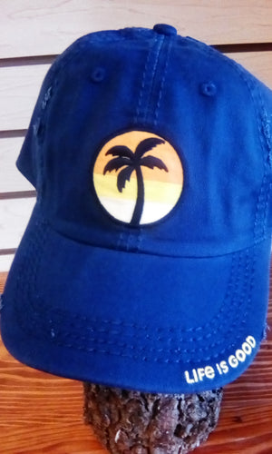 Life is Good Sunwashed Chill Cap Sunset Palm