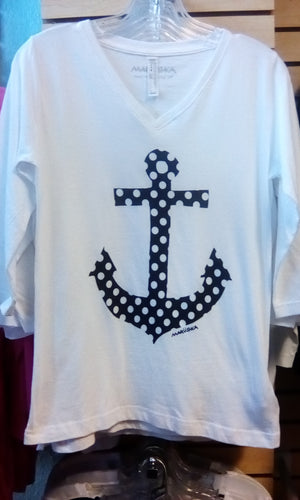 Women's Marushka 3/4 Sleeve Polka Dot Anchor
