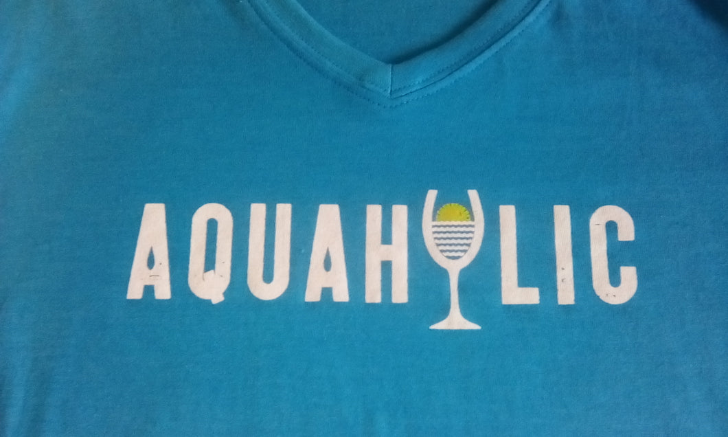 Women's 30A V-Neck Tee/ Aquaholic