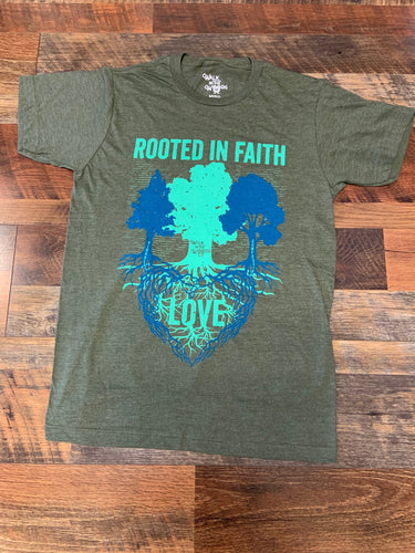 Walk in the Woods Rooted In Faith Tee-Military Green