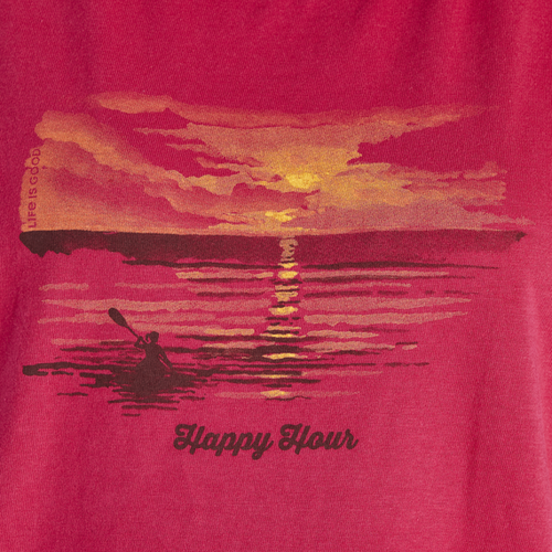 Women's High-Low Crusher Tank Happy Hour Kayak- Sangria Red