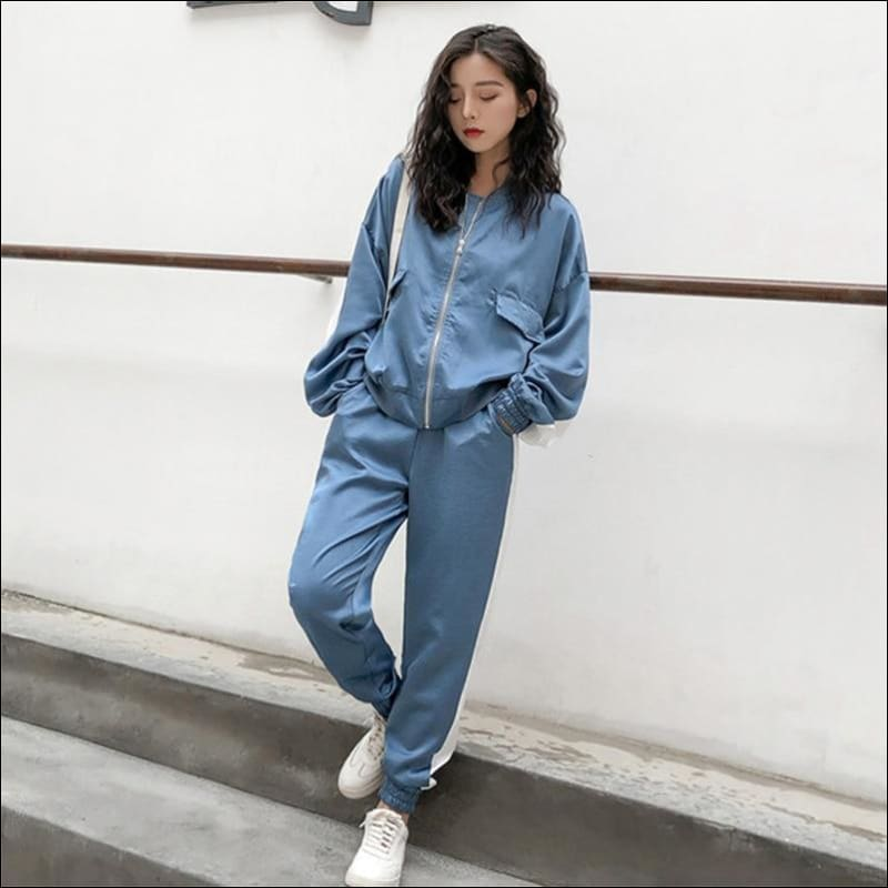 Autumn Patchwork Zipper Outwear Sweatsuit