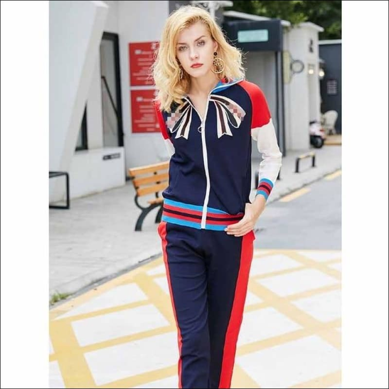 Women Street Suits GushGush Women Street Suits Autumn Zipper Cardigan Maiden Top Pants