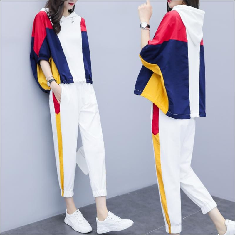 Women Street Suits GushGush Women Street Suits Casual 2 Piece Set Striped Ensemble Tracksuits