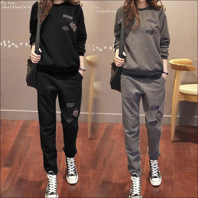 Women Street Suits GushGush Street suits Street Wear Women Street Suits Womens Casual Plus Velvet Thick Sweatshirt + Pants Sets