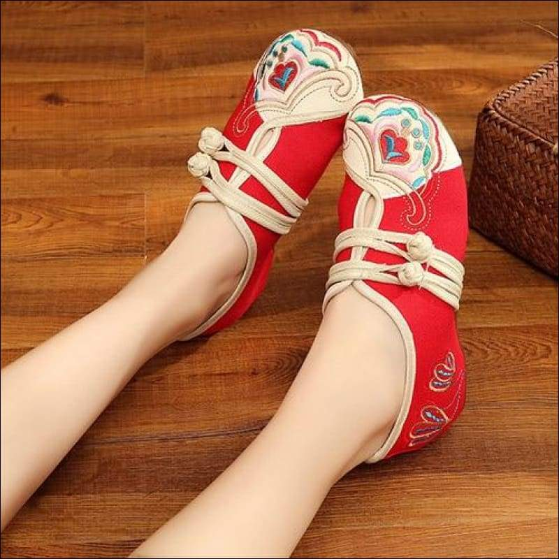 Women Shoes GushGush street loafers street shoes street sneakers Women Shoes Flowers Embroidered Cotton Vintage Flats