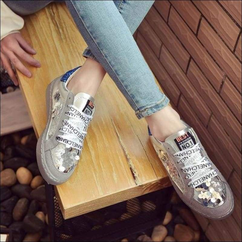 Women Shoes GushGush Street Shoes Women Shoes Glitter Star PU Leather Casual Women Shoes