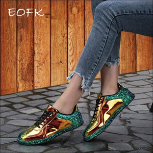Women Shoes GushGush Women Shoes Gold Glitter Shinny Bling Glossy Sneakers