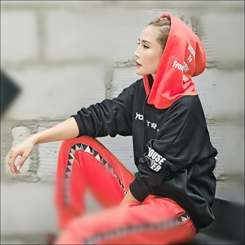 Women Hoodies & Sweatshirts GushGush Street hoodies Street Jackets Women Hoodies & Sweatshirts Harajuku Hip Red Black Freestyle Hoodies
