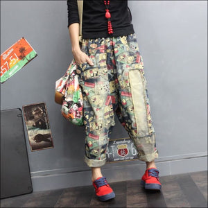 Women Pants GushGush Street Pants street trousers Women Pants Harem Print Loose Elastic Waist Pants