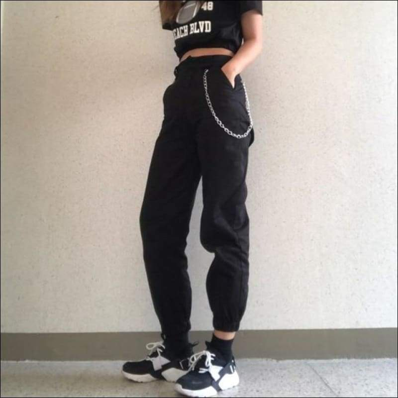 Women Pants GushGush Women Pants High Waist Camouflage Loose Streetwear Punk