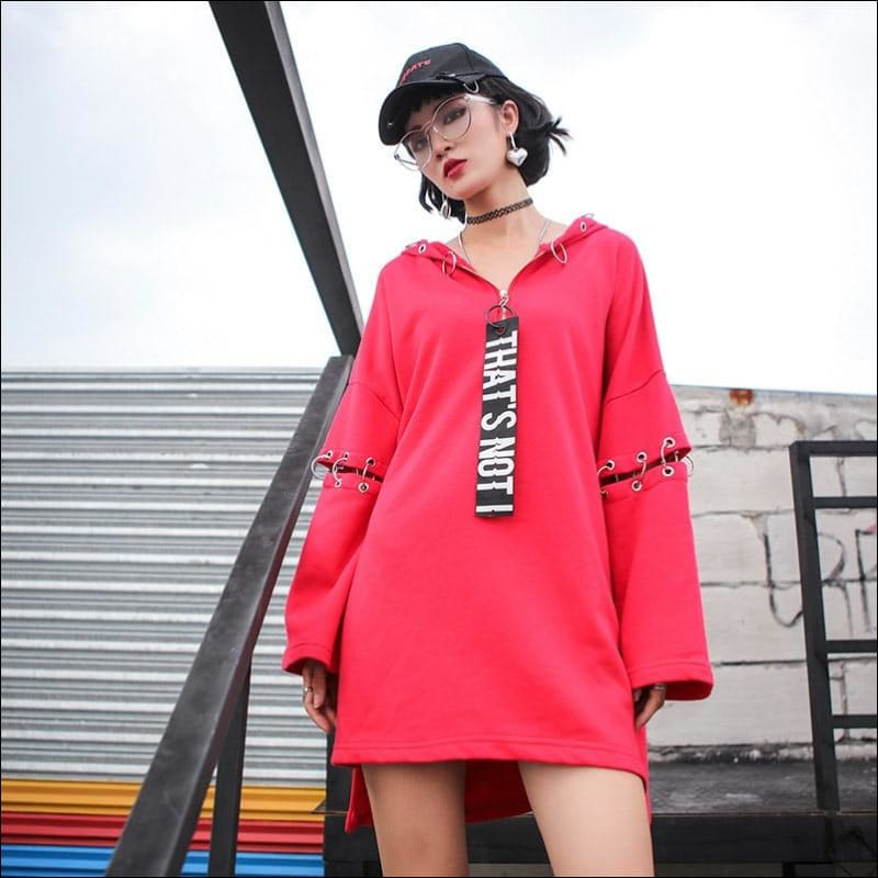 Women Hoodies & Sweatshirts GushGush Street Jackets Street Sweaters Women Hoodies & Sweatshirts Hip Hop Style Red Matel Ring Pullover