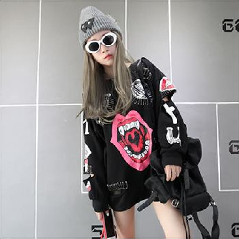 Women Hoodies & Sweatshirts GushGush Street Jackets Street Sweaters Women Hoodies & Sweatshirts Korean Cartoon Graffiti Decoration