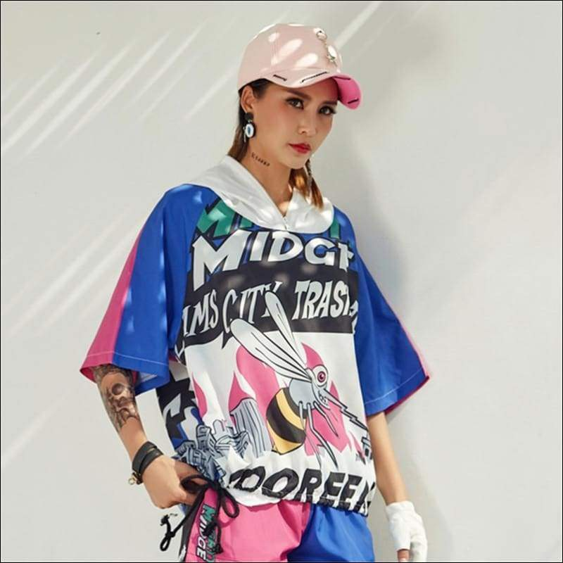 Women Hoodies & Sweatshirts GushGush Women Hoodies & Sweatshirts Womens Korean Style Women Thin Oversize Cartoon Printed Hoodie