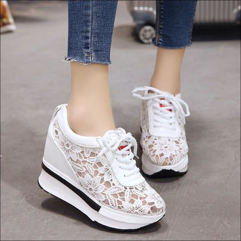 Women Shoes GushGush Women Shoes Mesh Breathable Platform Wedges Shoes