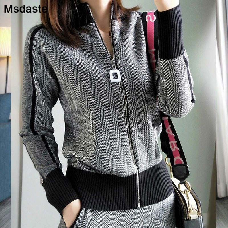 Cardigan Outfits Spring Plaid Knitted Tracksuits
