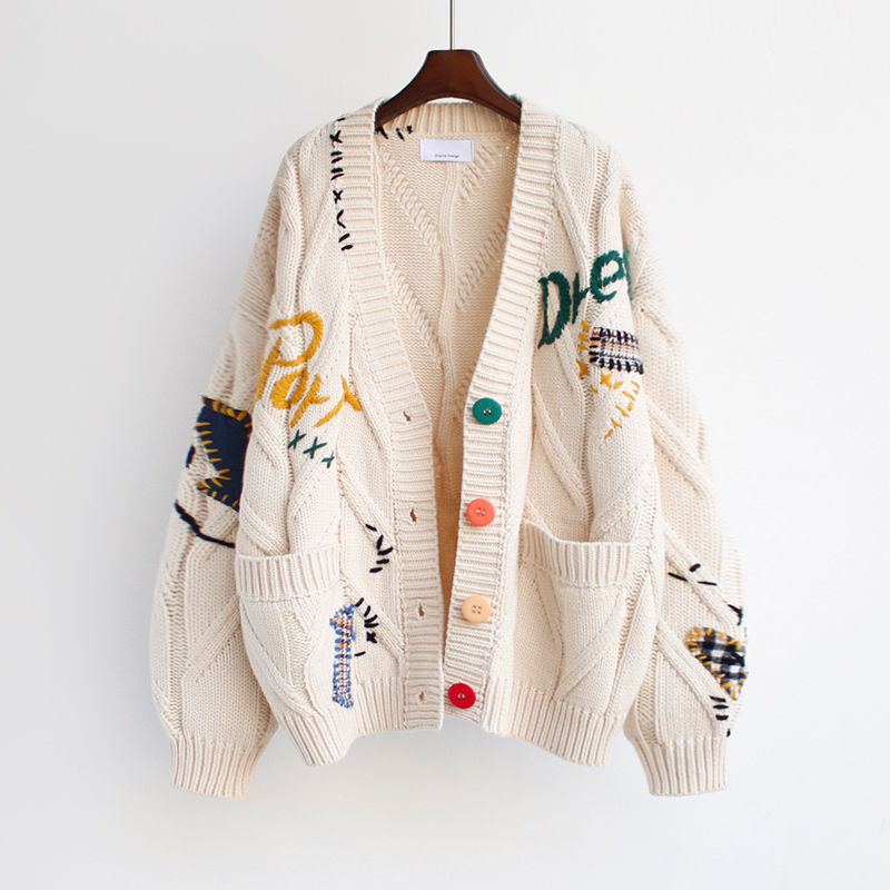 Cardigan Warm Knitted Sweater Jacket Pocket Embroidery