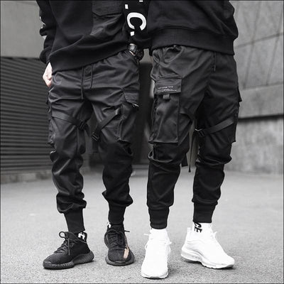 Men Pants GushGush Men Pants Ribbons Color Block Black Pocket Cargo Pants