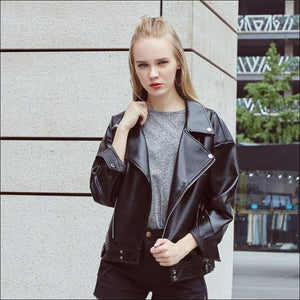 Women Hoodies & Sweatshirts GushGush Street Jackets Women Hoodies & Sweatshirts Soft PU Faux Motorcyle Black Outerwear