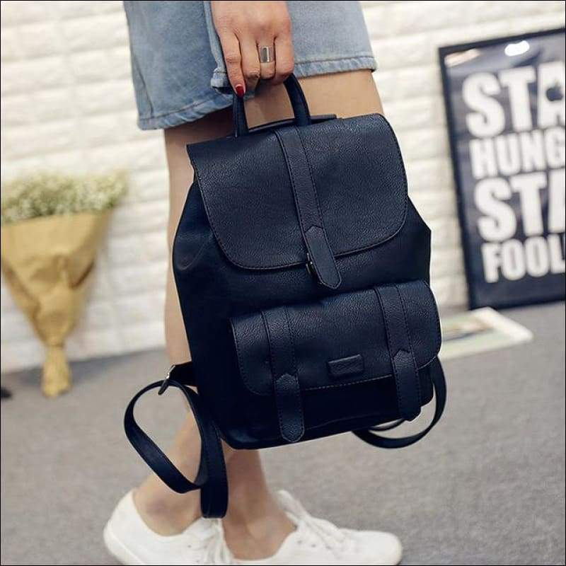 Backpacks GushGush Backpacks Mens Rucksack Schoolbags Street Backpacks Solid Vintage PU Leather School Bags