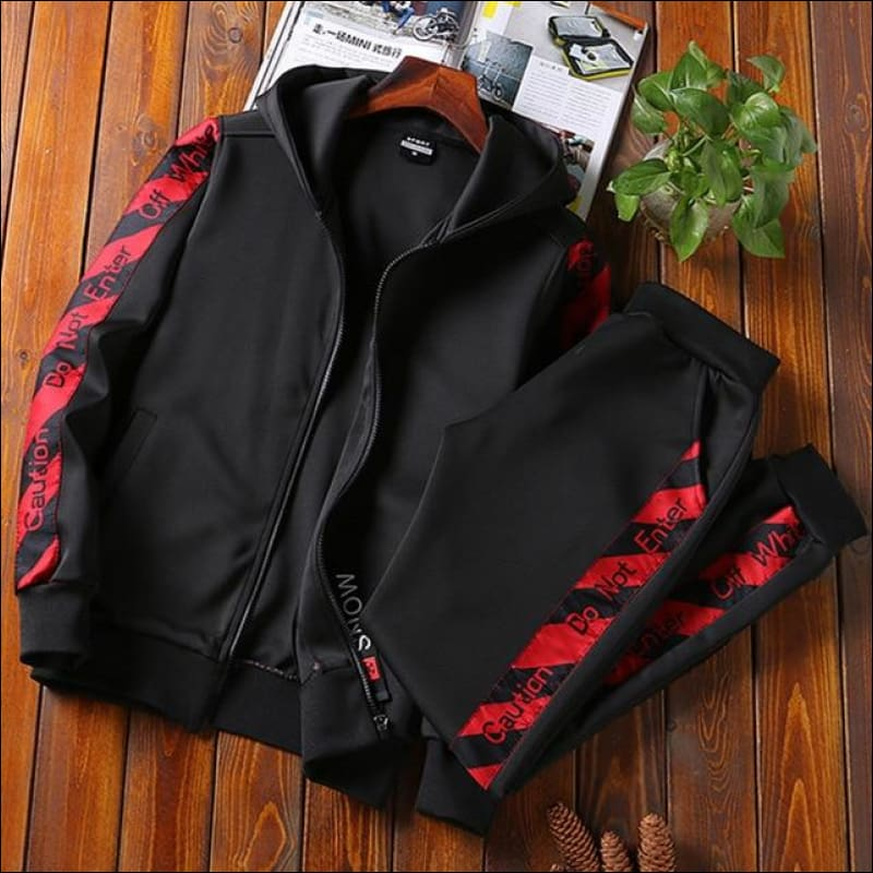 Men Street Suits GushGush Men Street Suits Street Suits Sportsuit Set Spring Hooded Tracksuit Fitness