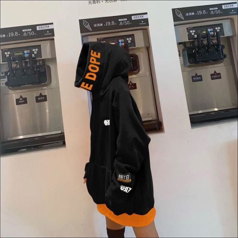 Women Hoodies & Sweatshirts GushGush Street Hoodies Street Jackets Street Sweaters Women Hoodies & Sweatshirts Thick Harakuju Orange