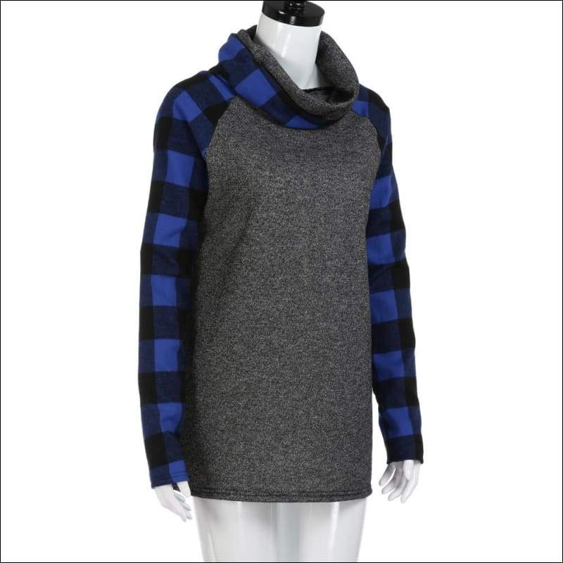 Turtleneck Tops Plaid Tunic Long Sleeve Pullover Sweatshirt