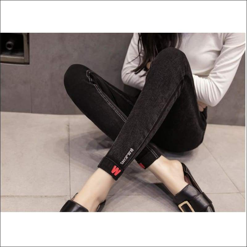 Women Pants GushGush Women Pants Womens Velvet Slim Warm Embroidery Trousers